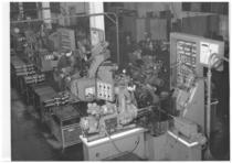 Stabilimento Same - Interno reparto officina, linea fabbricazione alberi motoreo, foratrici multiple automatiche