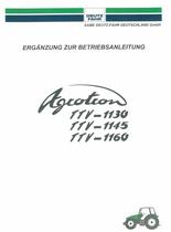 AGROTRON TTV 1130 - AGROTRON TTV 1145 - AGROTRON TTV 1160 - Ergänzung zur Betriesbanleitung