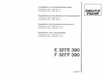 E 327 - E 390 - F 327 - F 390 - Einlageblatt zu den Betriebsanleitung / Supplément pour le notices de fonctionnement / Supplement into operating maintenance / Supplement voor instruktieboek
