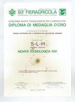 Diploma Medaglia d'oro 93° Fieragricola di Verona 1991 per sist. elettr.controllo sollevatore anteriore
