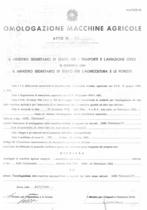 Atto di omologazione della trattrice SAME Centauro e Centauro/1