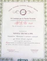 """Riconoscimento di Novità Tecnica 1991 - Dispositivo """"Resonance"""" a collettori risonanti per motori diesel agricoli"""