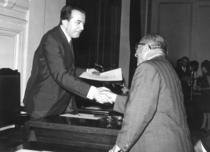 Consegna del premio alla SAME relativo al Concorso ENPI di Grottaferrata e alla presenza del Ministro dell'Industria On. Giulio Andreotti