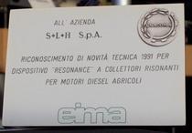 """Riconoscimento Novità Tecnica Eima 1991 per """"resonance"""" a collettori risonanti per motori diesel agricoli"""