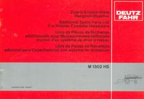 M 1302 HS - Zusatz-Ersatzteilliste / Additional spare parts list / Liste de pièces de rechange additionnelle / Lista de piezas de recambio adicional