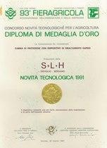 Diploma Medaglia d'oro 93° Fieragricola di Verona 1991 per cabina protez. dispositivo ribaltamento rapido