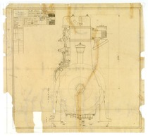 Motore MID 1152. Complessivo - Vista lato distribuzione - Disegno 174/1