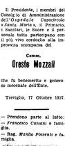 Necrologio Comm. Oreste Mozzali -partecipazione al lutto dell'Ing. F. Cassani