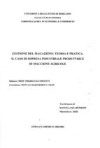 QUARTERONI Manuela, Gestione del magazzino: teoria e pratica. Il caso di impresa industriale produttrice di macchine agricole