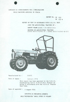 Report test of safety frame SAME T 8 (SPECIAL) mounted on agricultural tractors SAME Minitauro 60 and SAME Minitauro 60 DT