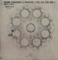 Motore d'aviazione a revolver - Tipo PLA 500 BFA - Disegno A02-4