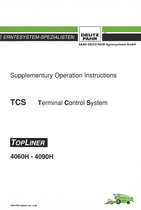 TCS Terminal Control System - TOPLINER 4060 H - 4090 H - Supplementary operation instructions