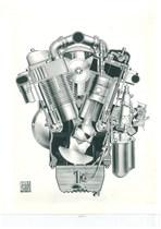 Motore SAME Vista frontale del motore a V - Fotografia pubblicitaria