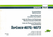 TOPLINER 4070 - 4075 - Ersatzteilliste ab Masch. Nr. 6206-5005 / Spare parts list from Mach. Nr. 6206-5005 / Liste de pièces de rechange à partir de Mach. No. 6206-5005 / Lista de piezas de recambio a partir de Maquina No. 6206-5005