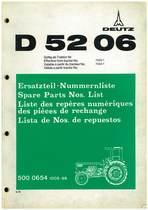 D 5206 - Ersatzteil-Nummerliste / Spare Parts - Nos. List / Liste de Repéres Numerique de Rechange / Lista de Nos. De Repuestos