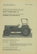 Report test of safety frame SAME T 33 mounted on agricultural tractor SAME Corsaro 70 B Synchro DT