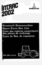 INTRAC 2002 - Ersatzteil-Nummerliste / Spare Parts - Nos. List / Liste de Repéres Numerique de Rechange / Lista de Nos. De Repuestos