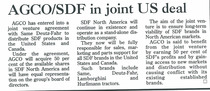 AGCO/SDF in joint US deal