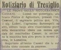 Notiziario di Treviglio: Le prove della motoaratrice Cassani
