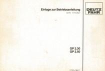 GP 2.30 - GP 2.50 - Einlage zur Betriebsanleitung