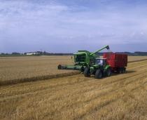 [Deutz-Fahr] trattore serie Agrotron al lavoro con rimorchio e mietitrebbia