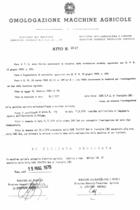 Atto di omologazione della trattrice SAME Buffalo 130 DT