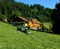 [Deutz-Fahr] trattore Agroplus al lavoro con barra falciante e rimorchio su un prato di montagna