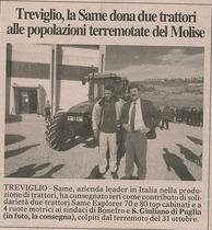 Treviglio, la SAME dona due trattori alle popolazioni terremotate del Molise