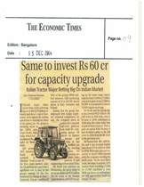 SAME to invest RS 60 cr for capacity upgrade