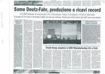SAME Deutz-Fahr, produzione e ricavi da record