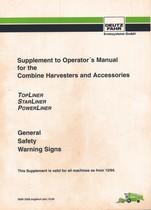TOPLINER - STARLINER - POWERLINER - Supplement to operator's manual