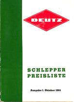 Deutz / Schlepper / Preisliste / Ausgabe 1. Oktober 1964
