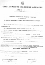 Atto di omologazione della trattrice agricola con pianale di carico SAME Samecar Agricolo DT B